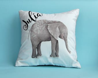 Personalized Baby Pillow, Elephant Pillow, Elephant Pillowcase, Nursery Pillows,  Personalized Pillow, Elephant Nursery Decor, Grey Elephant