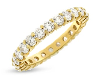 2.15 CT Natural Round Diamond Eternity Band in Solid 14k Yellow Gold