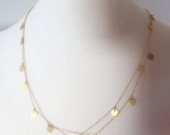 Long Gold Disc Necklace, gold Filled, shiny little gold circle neckl, Cougar Town Necklace, Courtney Cox, Jules Cobb long gold necklace