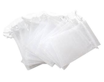 Set of 10 white 10 x 12 organza bags