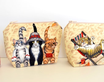 Cat make up pouch, cosmetic, medication bag, small zip bag, coin purse