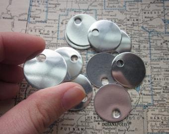 10 TUMBLED Aluminum 1 Inch Discs - 18 Gauge