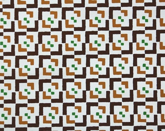 Retro Wallpaper by the Yard 70s Vintage Wallpaper - 1970s Vinyl Brown Tan and Green Geometric on White