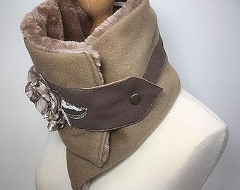 Beige neck scarf, camel fur scarf, Ultimate Neck warmer, Ruffle neckwear, scarf, Cowl,Warm neckwear, Fur scarf, Amanda sutherland