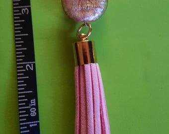 Pink Tassel and bead purse charm