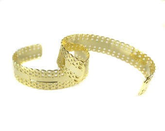 Gold Plated Lace Textured Cuff  - (1x) (K712)