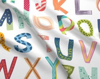 Fun Alphabet Fabric - Alphabet Blocks By Enariyoshi - Fun Colorful Alphabet Cotton Fabric By The Yard With Spoonflower