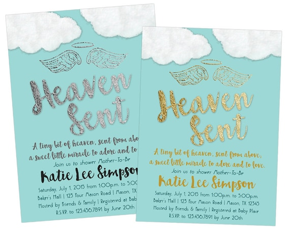Printable Heaven Sent Baby Shower Invitations Diy Boy Baby