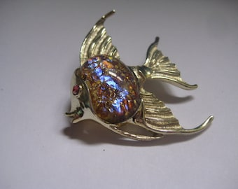Tropical Angel Fish Pin with Jelly Belly Signed