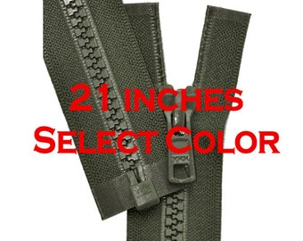 21 inch Vislon Jacket Zipper YKK 5 Molded Plastic Medium Weight  Separating Bottom - Select Color