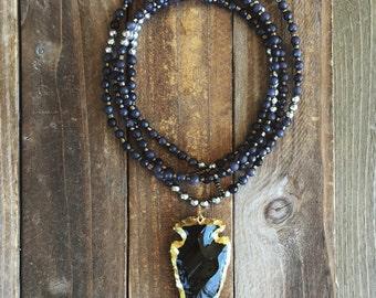 Arrowhead pendant necklace - long beaded necklace - long pendant necklace - gemstone necklace - boho necklace