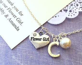 Flower girl gift, necklace, child, initial, personalized, comes with personalized card and JEWELRY box.