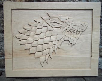 Game of Thrones Dire Wolf wood carving.