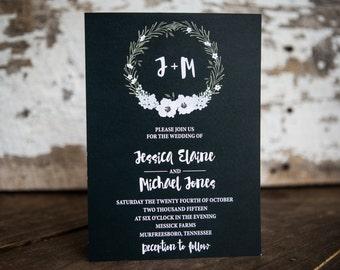 Wedding Invtiation, Floral Wedding Invitation, Wreath Wedding Invitation- White Wreath Wedding Suite : A7 Wedding Invitations (Custom Color)