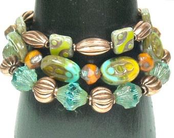 Boho Stacked Bracelet, Picasso Glass Beaded Bracelet, Multistrand, Multi Strand, Layered Czech Picasso Glass and Copper Bracelet, Adjustable
