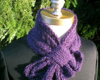 Purple Scarflette with Leafy Frill hand knitted soft warm feminine pass-through scarf keyhole scarf