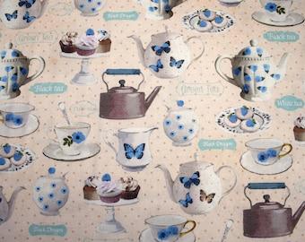 teacup fabric, cupcake fabric, tea time fabric, tea party fabric, quilting fabric, teapot fabric, cotton fabric, fabric by the metre