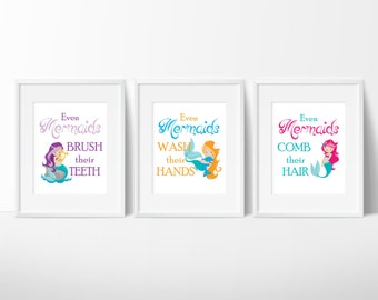 "Mermaid Bathroom Decor - Girls Bathroomv- ""Even Mermaids Wash Their Hands"" - Bathroom Rules - Girls Bathroom Decor - Set of 3 Prints"