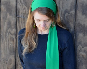 Women's Kelly Green Stretch Hair Wrap, head scarf, Headband, Headscarf, Hair Tie, Headcovering, Head Covering, handmade gift, St Patricks