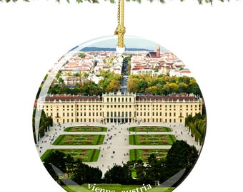 Vienna Christmas Ornament of Austria in Porcelain, Double Sided 2.75 Inches
