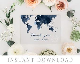 Printable Thank You Card INSTANT DOWNLOAD, Wedding Favor Card, DIY Printable Decorations, Templett, Editable pdf, Destination, Map, Embark