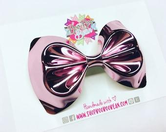 Pink Mirror Bow, Pink Metallic Hair Bow, Pink Leather Bow, Metallic Pink Bow, Faux Leather Bow, Pink Hair Clip, Headband, Bow Tie