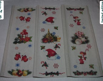 Christmas Kitchen Towels Set #2 Christmas Tea Towel Set Cotton Linen Christmas Kitchen Set Christmas Kitchen Set