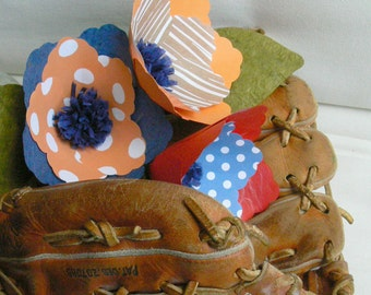 Detroit Tigers Baseball Bouquet - colorful set of 3 handmade paper flowers