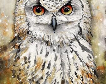 Fiery Watercolor Owl