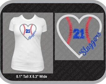 Custom Heart Baseball or Softball Glitter Shirt