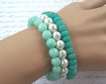 3 Stretch Seafoam Green n White Pearl Bracelets, green gemstone bracelet, jade, amazonite, MOP, pearl, faceted, tropical bracelet, stacking