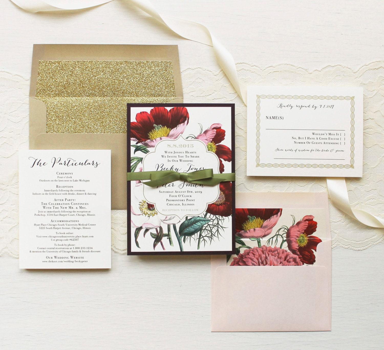 Floral boho wedding invitations plum and gold wedding zoom stopboris Gallery