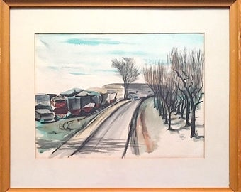 Vintage Signed Original Watercolor of Industrial Cityscape by Ohio Artist Jo Paulus