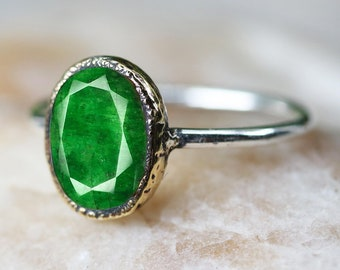 Emerald ring, 925 sterling silver ring, silver ring, gemstone ring, handmade jewellery