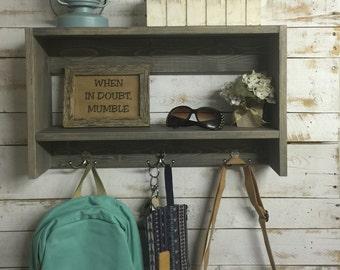 Farmhouse Entryway Shelf - Mail and Key Organizer - Entryway Shelf with hooks- key organizer-rustic home decor- coat rack-entryway shelves