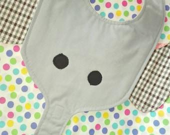 Elephant bibs, waterproof bibs, animal bibs, cotton bibs, handmade bibs, funny bibs, boy girl bibs, baby bibs, binky bib, custom bibs