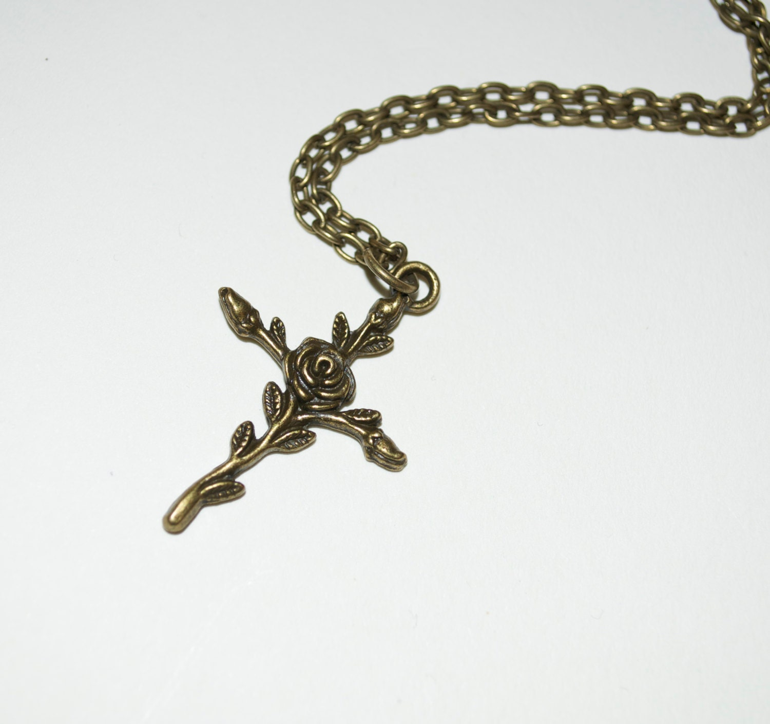 Crucifix pendant rose cross necklace bronze cross flower cross crucifix pendant rose cross necklace bronze cross flower cross feminine crucifix simple necklace everyday jewelry rose crucifix aloadofball Image collections