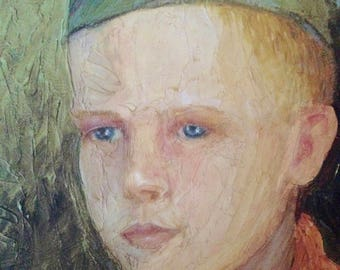 Original Oil Painting of Boy Scout