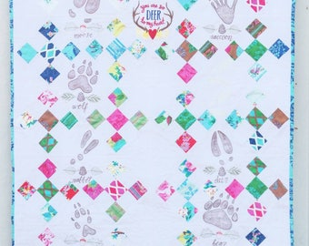 Woodland Baby Quilt- Footprints- RTS