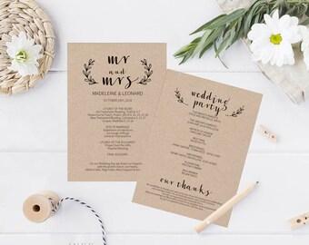 Printable Wedding Program, Wedding Program Template, Rustic Wedding, Ceremony Printable Template, Editable PDF Instant Download #E020