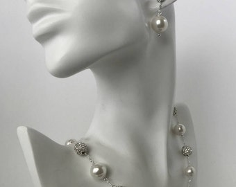 Bridal Jewelry Set, Alternating Pearl & Pave Crystal Ball Necklace with Post Earrings