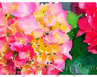 Hydrangea print, watercolor style image, instant digital download