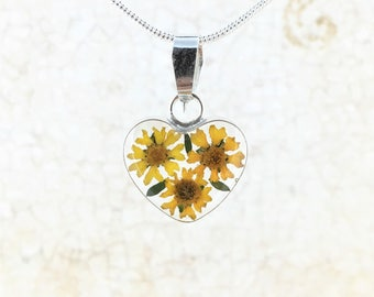 Valentine's Heart Sunflower Necklace. Real Miniature Sunflowers. Sterling Siver Pendant