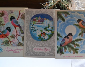 Set of 3 New Year/Christmas vintage postcards, Birds in winter, Russian Christmas postcards, Soviet 1970s postcard, Christmas illustration