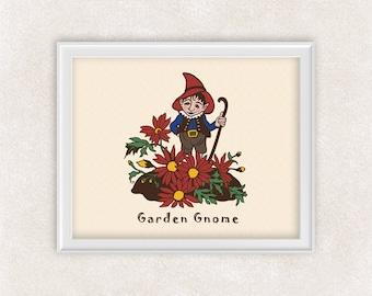 Garden Gnome Art Print - 8x10 - Gardening Wall Art - Item #532