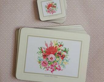 VINTAGE RETRO AUSTRALIAN Floral Emblems Placemats and Coasters cork back (Set of 12) Australiana, Acrylic, Corkback