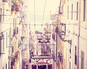 Portugal photography, Large Wall Art, Lisbon streetcar, Travel Wall Decor