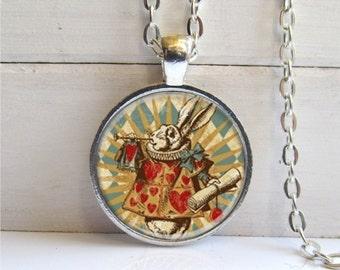 White Rabbit Pendant, Alice In Wonderland Jewelry