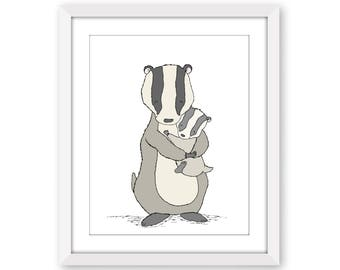 Woodland Nursery Art -- Badger Mama and Baby Hugs -- Badger Mama and Baby -- Woodland Art, Children Art Print, Kids Wall Art