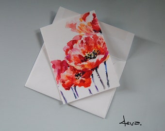 Watercolor Flowers Card.Hand Painted Watercolor Card, Red Poppies Watercolor Card